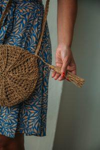 Tassel Detail Round Straw Crossbody Bag