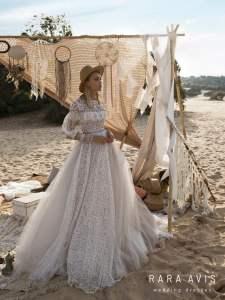 Modest Boho wedding dress ALYFI with long train • Wedding dress with long train