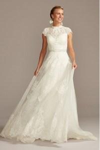 MELISSA SWEET Embroidered Illusion Mock Neck Wedding Dress
