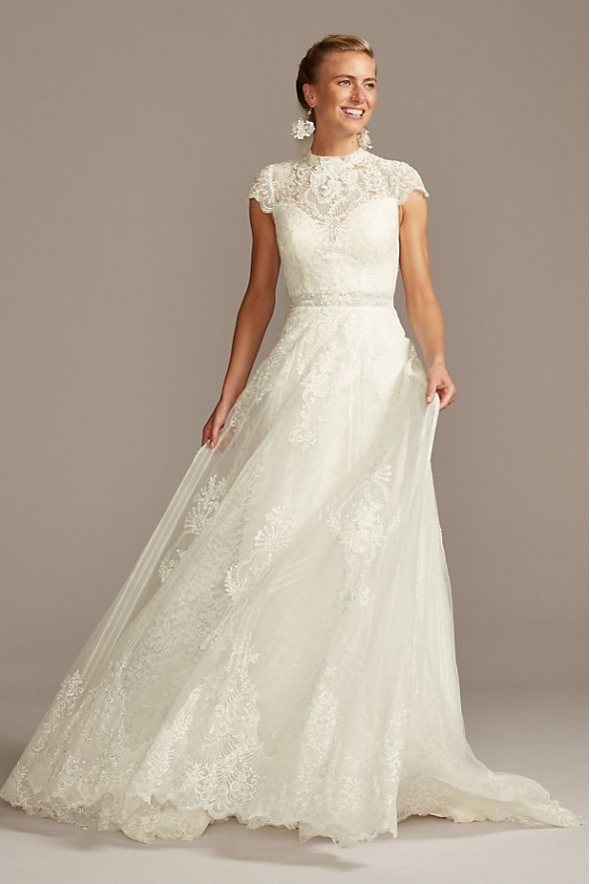 MELISSA SWEET Embroidered Illusion Mock Neck Wedding Dress