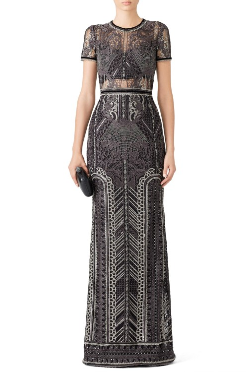 Marchesa Notte (408) ADD TO HEARTS Silver Embroidered Gown