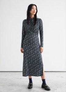 DESIGNED IN PARIS Gathered High Collar Midi Dress