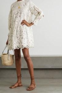 ULLA JOHNSON Albertine linen and cotton-blend guipure lace mini dress
