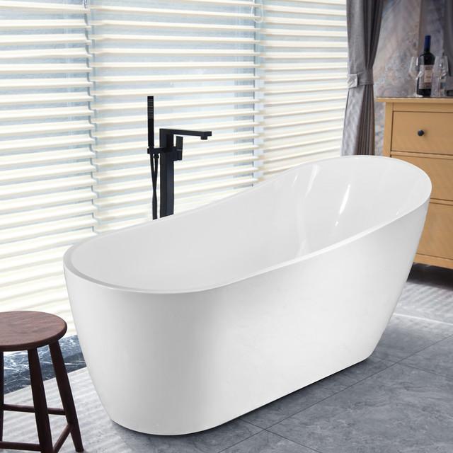 """Vanity Art Freestanding Acrylic Soaking Bathtub, 67""""x29"""""""