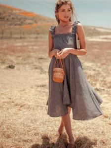 Vanna Hemp Handkerchief Dress Color - Flecked Denim