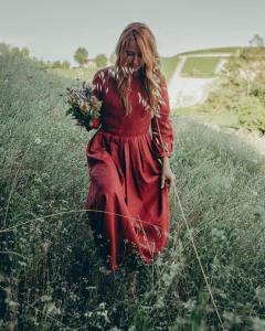 Cottagecore dress Orange, Long Linen dress, Women Vintage inspired Linen maxi dress, Modest Linen dress, Summer spring outfit 2762#