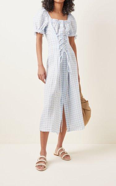 Sleeper Marquise Corseted Linen Midi Dress