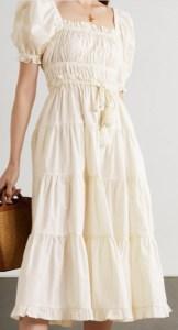 ULLA JOHNSON Iliana belted tiered cotton midi dress