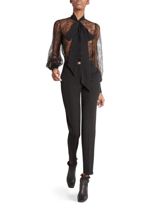 Givenchy Lace Lavaliere Tieneck Blouse