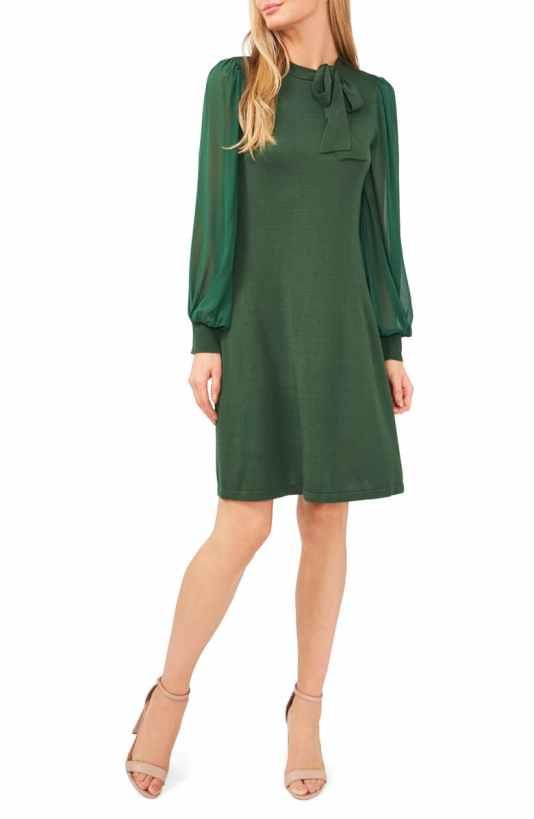 Tie Neck A-Line Sweater Dress CECE