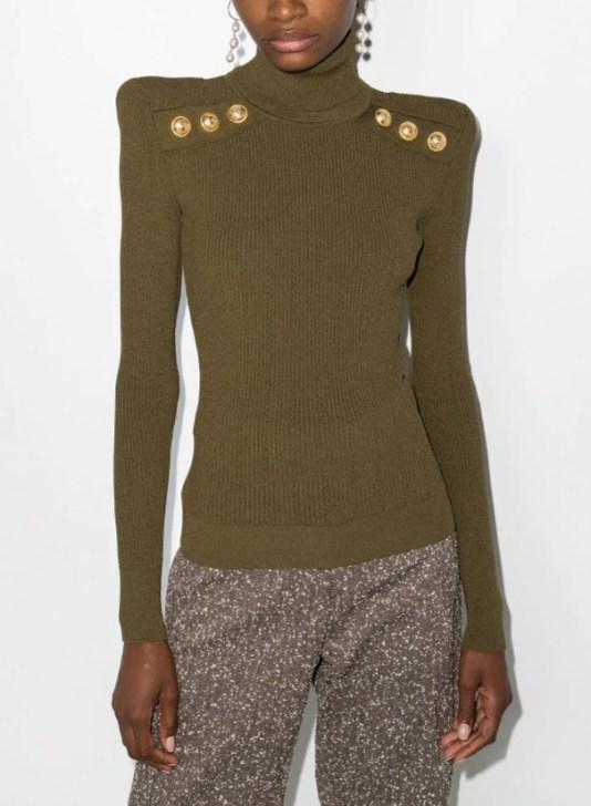 Balmain button-embellished padded shoulders jumper