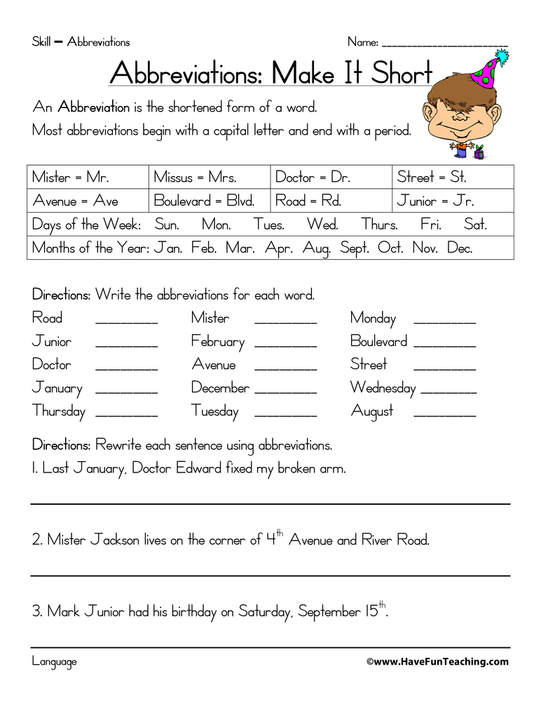 Printables Of Abbreviation Worksheet 6th Grade