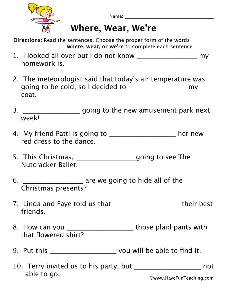 Where Wear We Re Homophones Worksheet