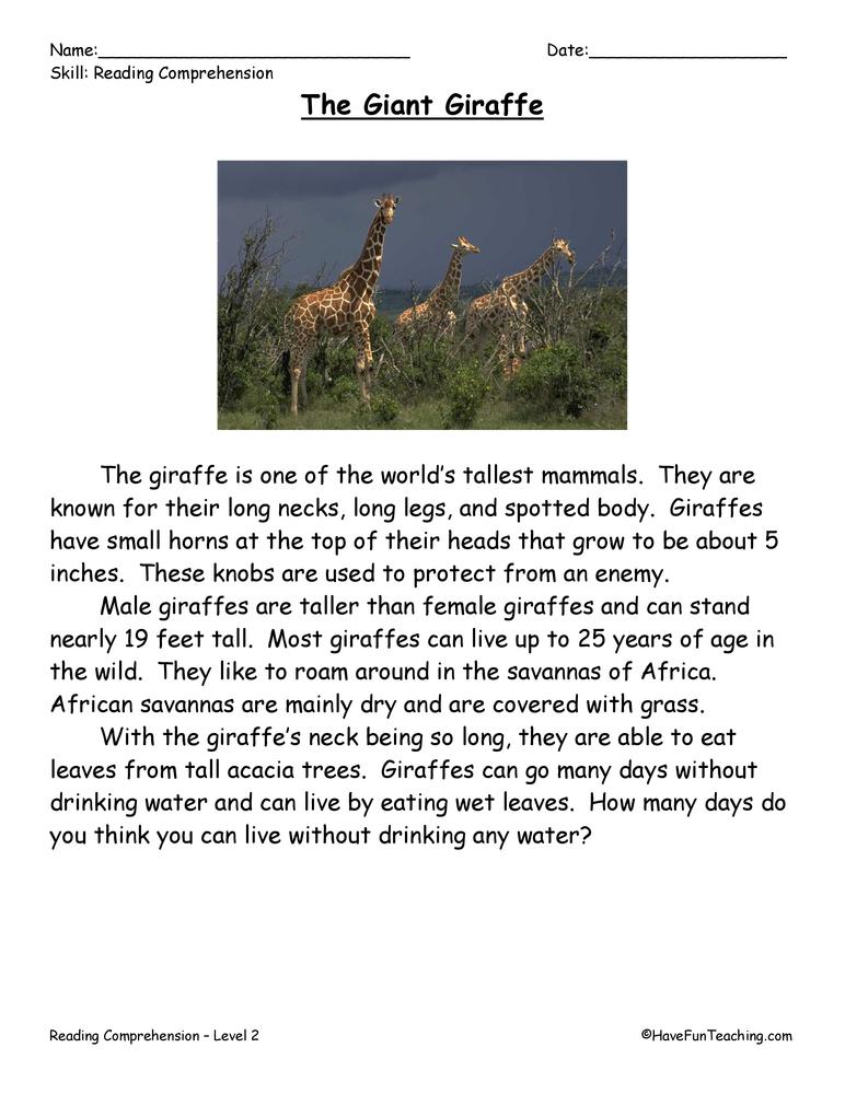 The Giant Giraffe Reading Comprehension Worksheet