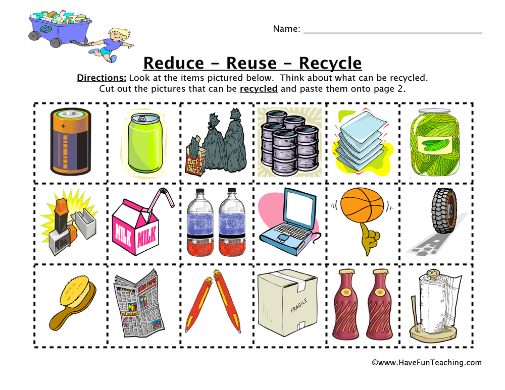 Reduce Reuse Recycle Sorting Worksheet Have Fun