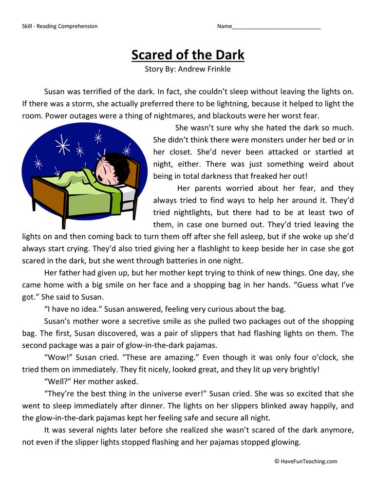 Scared Of The Dark Reading Comprehension Worksheet