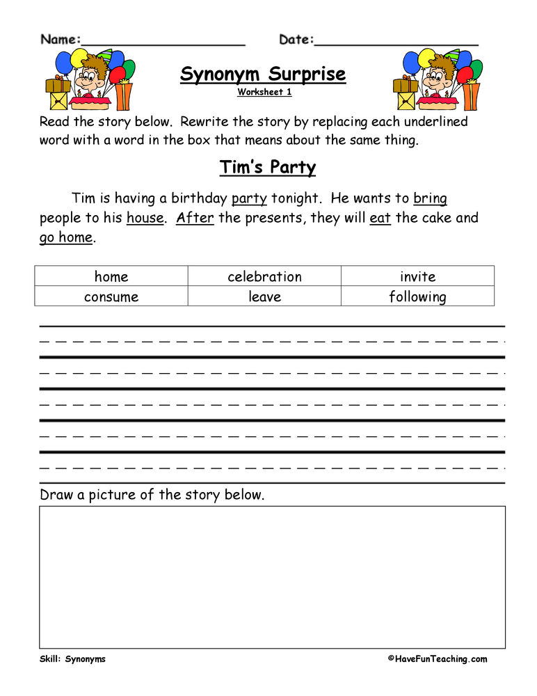 Synonym Worksheets