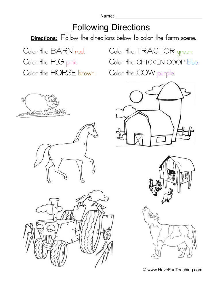 Following Directions Coloring Worksheet Have Fun Teaching