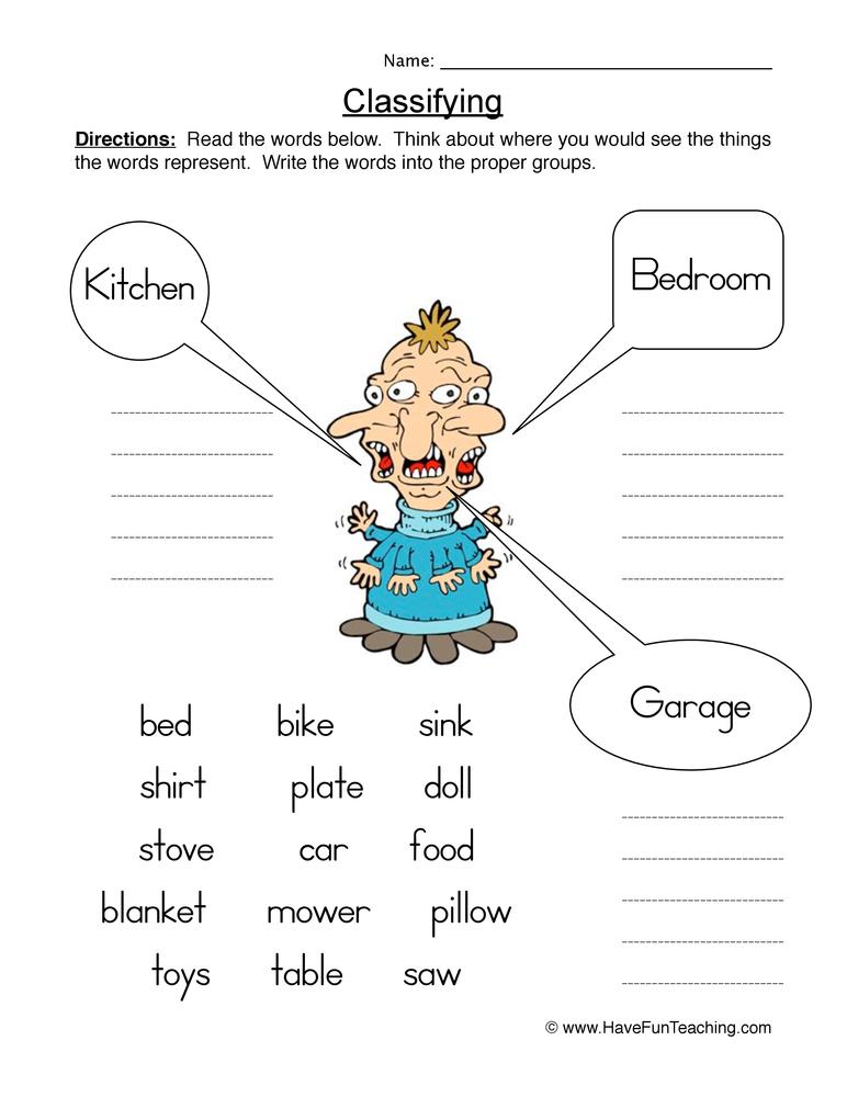 Classifying Worksheet