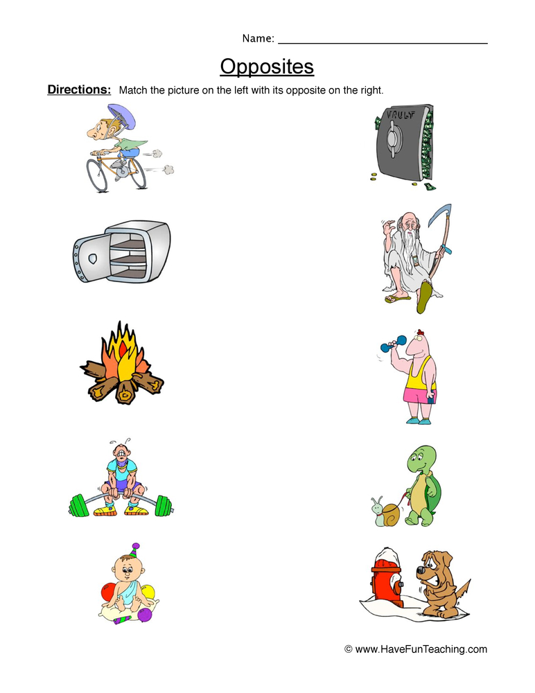 Opposites Worksheet 2