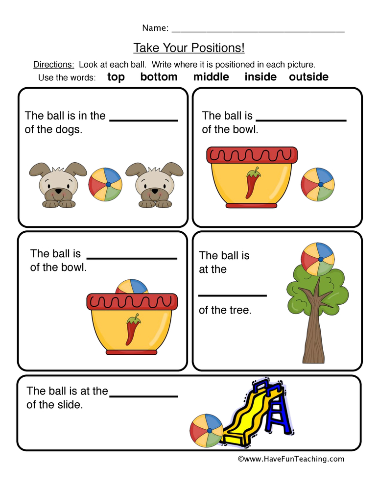 Positions Worksheet Have Fun Teaching