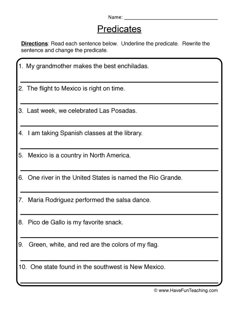 Writing New Predicates Worksheet