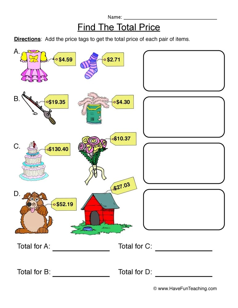 Find The Total Price Adding Money Worksheet 1