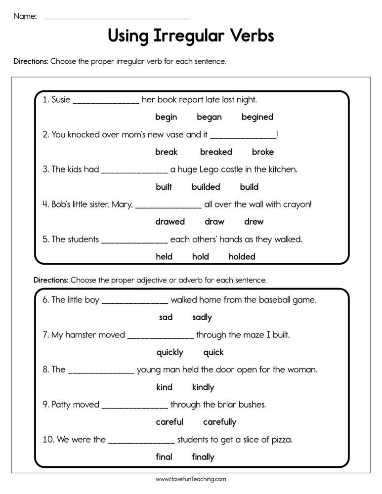 Use Irregular Verbs Worksheet Have Fun Teaching