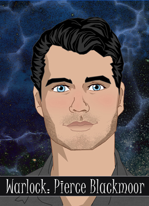 Illustration of a young man with black hair and blue eyes, a gray shirt and stubble.