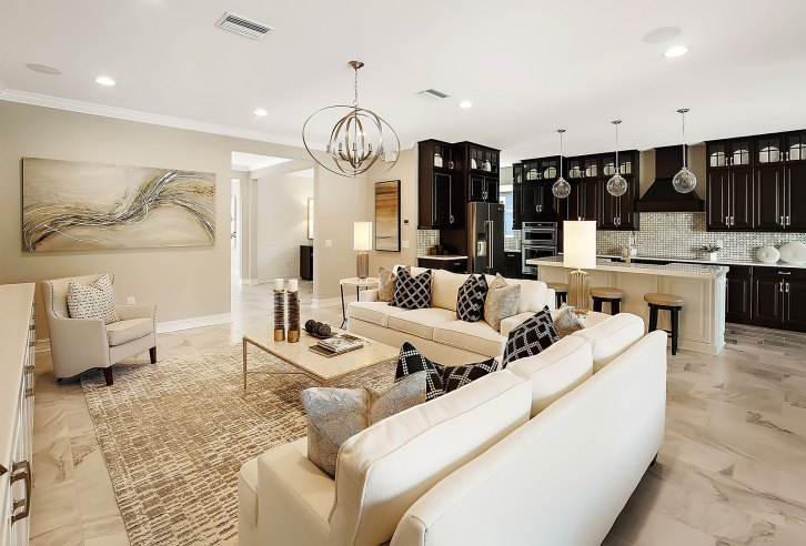 Haven-Design-Works-Tampa-CalAtlantic-Enclave-at-Meadow-Pointe-Great-Room-black-and-gold