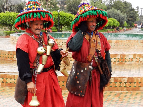 Moroccan water sellers pose for a photograph in Marrakesh.