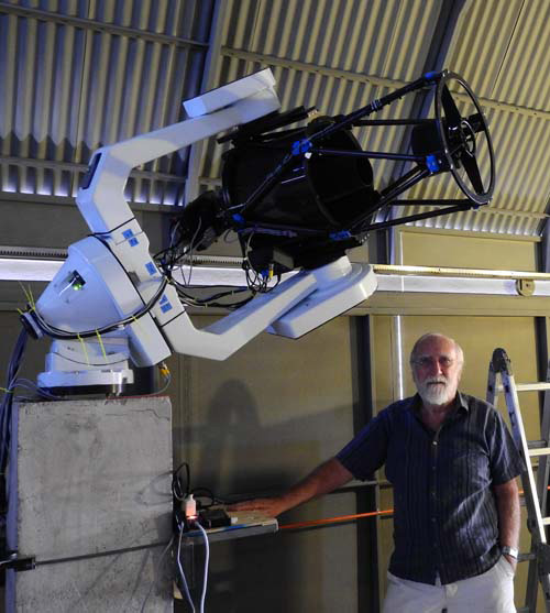 A photograph of Phil from HavePension-WillTravel in Chile with his remoteley operated telescope. Phil is an amateur astronomer who also likes to travel.