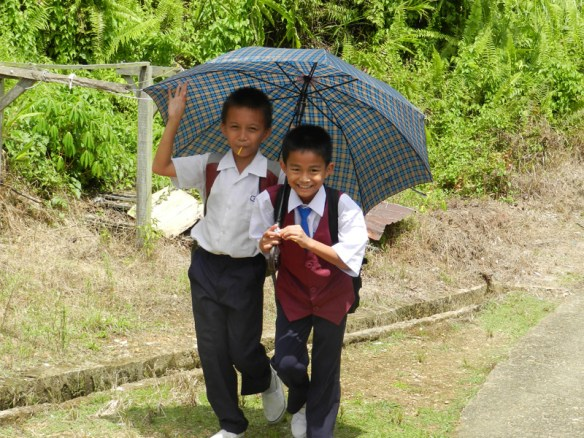 Schoolboys on the way home from Mujong school on the Baleh River, Sarawak, Borneo.