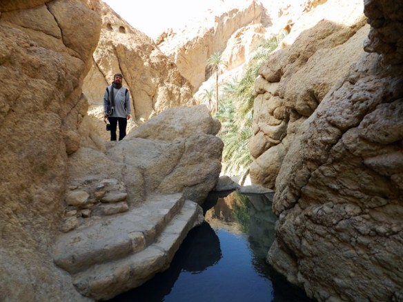 Cool mountain oasis in the middle of the desert at Chebika near Tozeur, Tunisia