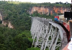 Train crossing the Gokteik viaduct, Shan State, Myanmar.