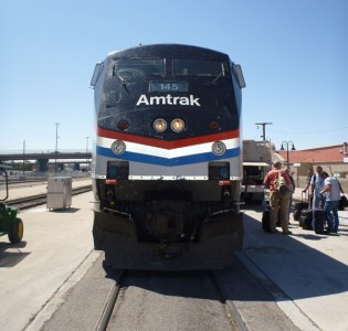 Amtrak's Southwest Chief stops in Albuquerque, New Mexico on the way from Los Angeles to Chicago.
