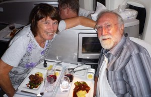 Phil and Wendy enjoying dinner together in Air New Zealand business premier
