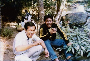 Happy Thais enjoying Mekong whisky in Doi Suthep-Pui National Park in Chiang Mai, Thailand. (1979 photo)