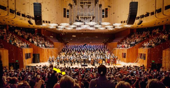 A Sydney Opera House picture – not of our concert. The yellow arrow shows the approximate position of our seats.