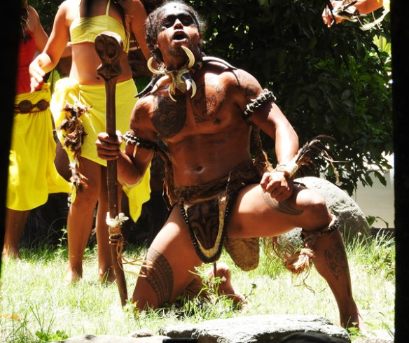 A warrior from the Haka Manu group takes part in the Bird Dance on Ua Pou, Marquesas Islands.