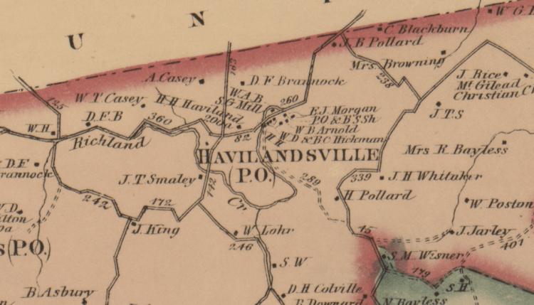 Harrison County side of Havilandsville
