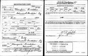 Sandie Rudder WWI Draft Card