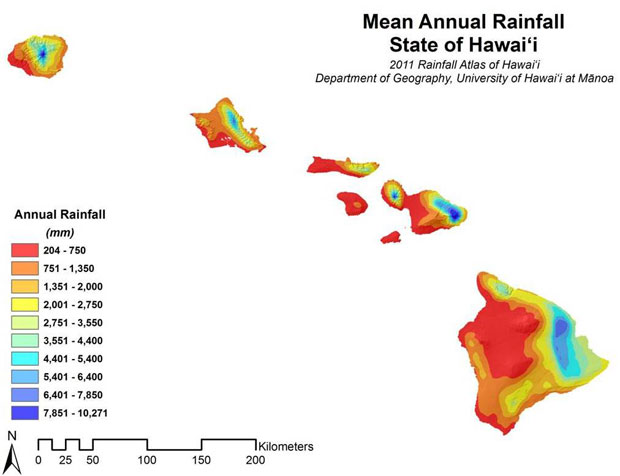 Map of Hawaii showing average rainfall by color