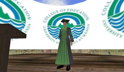 A virtual graduate in cap and gown