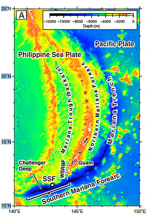 brightly colored map of Mariana Trench ocean bottom
