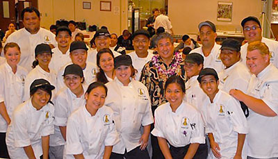 Group of culinary students with Alan Wong