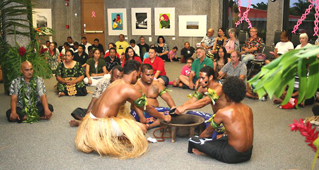 Group of people in Pacific Island cultural garb