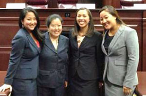 From left, Avery Matro, Shirley Lou-Magnuson, Andrea Maglasang-Miller and Nikki Yamauchi (photo courtesy of the UH William S. Richardson School of Law)