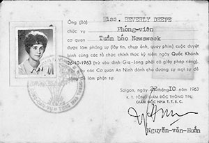 Beverly Deepe Keever's Newsweek press card issued by the South Vietnamese government.