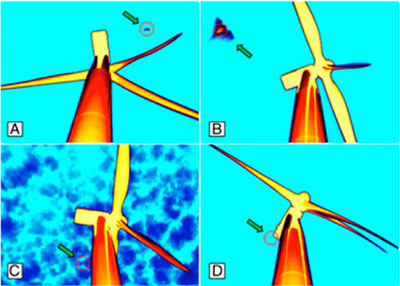 """Still images of night-flying bats at wind turbines, detected in thermal-infrared video footage (credit: """"Behavior of bats at wind turbines"""")"""